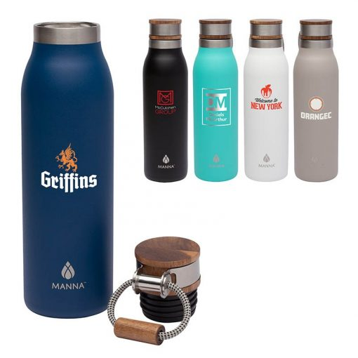 Manna 18 oz. Ascend Stainless Steel Water Bottle w/ Acacia Lid