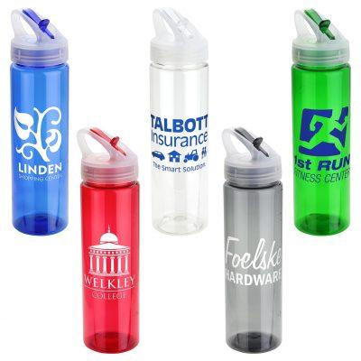 Peloton 25 oz PET Eco-Polyclear™ Bottle with Flip-Up Lid