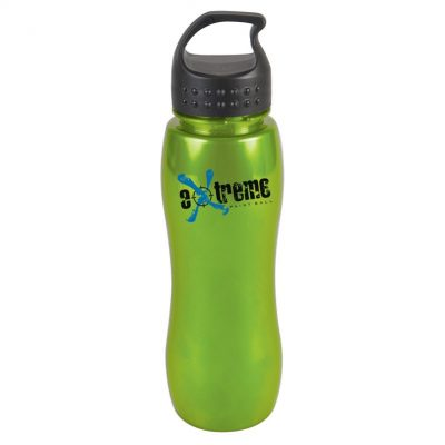 25 oz. Slim Grip Metallic Sports Bottle - Crest Loop Lid