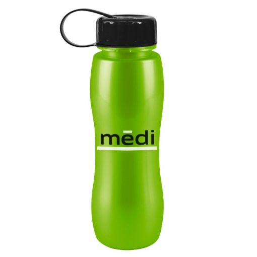 25 oz. Slim Grip Metallic Sports Bottle - Tethered Lid