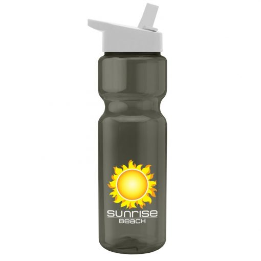 28 oz. Transparent Sports Bottle - Flip Straw Lid - - digital imprint