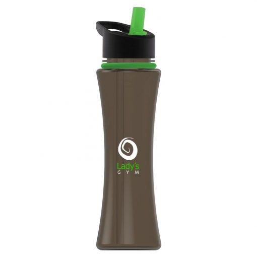 17 oz. Two-Tone Curve Sports Bottle - Flip Straw Handle Lid and Collar