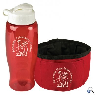 Thirsty Dog Sports Bottle and Folding Dog Bowl Set