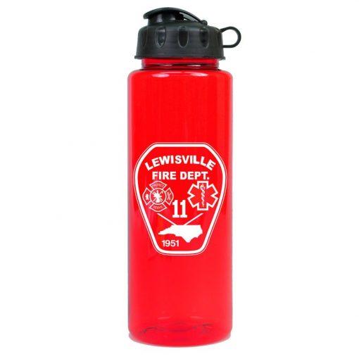 Guzzler 32 oz. Transparent Sports Bottle - Flip Top Lid