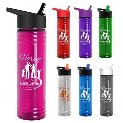24 Oz. Slim Fit Water Bottles With Flip Straw Lid