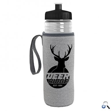 24 oz. Sports Bottle & Caddy - Push-Pull Lid